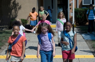 Kids walking home from school